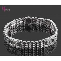 1.30 TCW Natural Diamond Bracelet Link ID Design 14k White Solid Gold