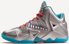 abe6ce553e72 Nike Lebron 11 Barber Metallic Silver White-Turquoise Blue-Laser Crimson New  Year Deals