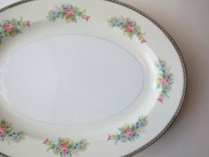 Large Serving Platter Pink Blue Floral Large  by thechinagirl