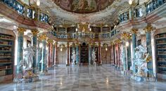 Roaming the halls of the gorgeous Wiblingen Abbey library near Ulm, Germany.   31 Places Bookworms Would Rather Be Right Now