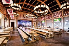 Victory Beer Hall in Philadelphia combines traditional beer-hall style with state-of-the-art audiovisual capabilities.