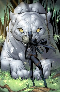 Black Panther (Shuri) and the Panther God ~ art by J. Scott Campbell