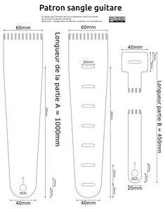 Guitar strap pattern Patron sangle en cuir pour guitare ou basse