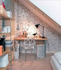 cute nook! love the wall paper and clock