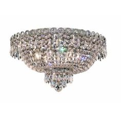 Royal Cut Clear Crystal Century 6-Light, Single-Tier Flush Mount Crystal Chandelier, Finished in Chrome with Clear Crystals