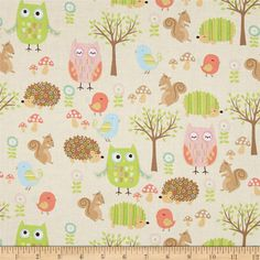 Riley Blake Owl & Co. Owl Friend Cream from @fabricdotcom  Designed by RBD Designers for Riley Blake, this cotton print is perfect for quilting, apparel and home decor accents. Colors include brown, cream, pink, mint, green, blue, coral, tan and white.