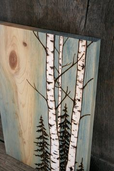Your place to buy and sell all things handmade,These beautiful birch trees have been burnt into a unique piece of salvaged pine wood and finished with oil to enchance the wonderful grain of the woo. Wood Burning Crafts, Wood Burning Patterns, Wood Burning Art, Wood Crafts, Art Mural Rustique, Wood Art, Wood Wood, Painted Wood, Diy Wood
