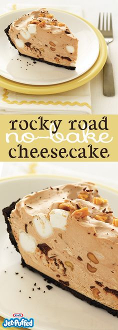 Create a Rocky Road No-Bake Cheesecake with little effort. Our Rocky Road No-Bake Cheesecake is studded with delicious chocolate, marshmallows and peanuts. No Bake Desserts, Easy Desserts, Dessert Recipes, Keto Desserts, Thanksgiving Desserts, Christmas Desserts, Yummy Treats, Sweet Treats, Yummy Food