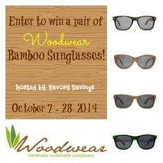 Woodwear Bamboo Sunglasses Giveaway! (ends 10/28) USA -gt:  Woodwear Bamboo SunglassesGiveaway! Sponsored by: Woodwear Hosted by: Savory Savings Co-hosted by: Joan's 5 Star Reviews  Do you love to be g... ~  http://www.singlemommies.net/2014/10/woodwear-bamboo-sunglasses-giveaway-ends-1028-usa-gt/