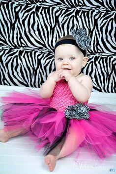 Baby tutu dress--Hot pink black and zebra halter tutu dress with matching headband and flower clip--First birthday tutu dress on Etsy, $35.00