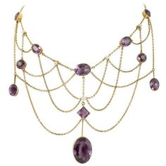Edwardian gold and amethyst necklace. Via 1stdibs. | Diamonds in the Library