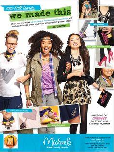 Michael's SEVENTEEN ad //// diy back to school fashion //// KIM DAWSON AGENCY MODEL ARIANA FOWLER IN CENTER ( headband)