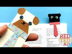 """Oh my, this Pug Bookmark DIY idea is just SO CUTE! Adore the """"Hug a Book"""" format and the tie is just adorable. Make from scratch or use the dog template. Box Creative, Creative Bookmarks, Cute Bookmarks, Bookmark Craft, Corner Bookmarks, Printable Bookmarks, Bookmark Ideas, Diy Paper, Paper Crafts"""