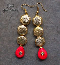 Gold Danglers !!!  Price - 1,800 /-  Place your order by sending us an email to justjewellery08@gmail.com