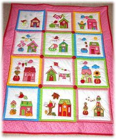 Little Village Quilt BOM vom Stickbär Der fertige Quilt unserer Kundin Irmgard, so schön!!!