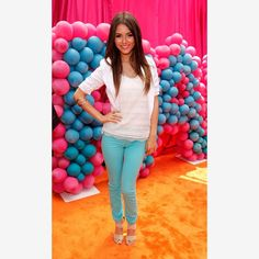 "Bright blue pants with basic white top and nude shoes - ""crisp and springy look!"""