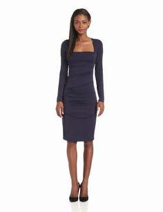 Nicole Miller Women's Felicity Stretch Matte Jersey Long Sleeve Dress
