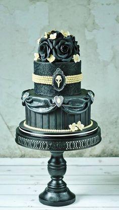 Gothic Cake(Red Velvet Cake with White Chocolate Cream & Strawberry Jam by Sweetlake Cakes Gothic Wedding Cake, Crazy Wedding Cakes, Crazy Cakes, Unique Wedding Cakes, Fancy Cakes, Pink Cakes, Steampunk Wedding, Camo Wedding, Gorgeous Cakes
