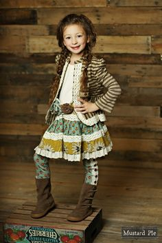 Mustard Pie Clothing Addie Skirt in Aqua Mustard Fall 2015 Back to School