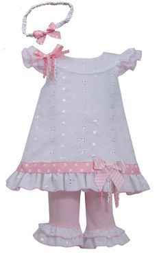 17589e28f29 Bonnie Jean Eyelet Spring Easter Dress Headband Legging Outfit Girls 2T 3T  4T