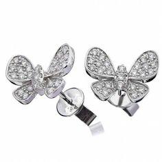 Diamond Butterfly Pavé Stud Earrings 0.50ct set in Solid 18k White Gold