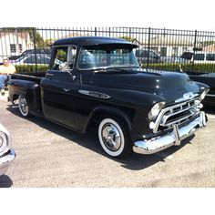 '57 Chevrolet || Black 1957 Chevy Pick-up Truck with visor, chrome, & white wall tires | Nice!