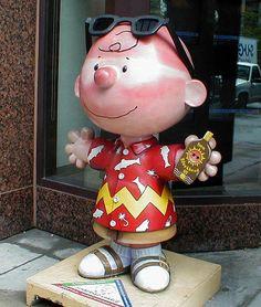 "Saint Paul, Minnesota - Peanuts on Parade 'Charlie Brown About Town' 2001 - ""Sunburnt Charlie"" - 103 fiberglass Charlie Brown statues, 5 feet tall"