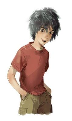 Hiro without his jacket in anime form