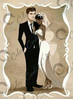 Interracial wedding couple, with illustration by Cards in Color lead artist Isaiah Stephens. Interracial Art, Interracial Marriage, Interracial Wedding Ideas, Interracial Family, Black Woman White Man, Black And White Love, Mixed Couples, Cute Couples, Interacial Love