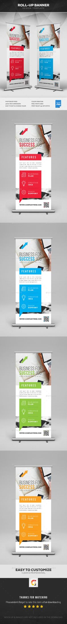 Corporate Roll-Up Banner Template PSD - Graphic Nitro Logo Design, Graphic Design Print, Resume Design, Corporate Design, Corporate Identity, Elegant Business Cards, Cool Business Cards, Letterhead Template, Brochure Template