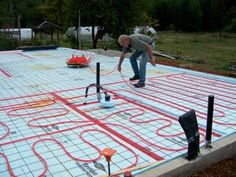 Picture of Continue Laying Out the Entire Space. Diy Concrete Slab, Heated Concrete Floor, Concrete Floors, Hydronic Radiant Floor Heating, Hydronic Heating, Water Heating Systems, Radiant Heat, Building A New Home, Home Design Decor