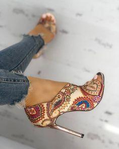 Head over Heels - Tribal Print Peep Toe Thin Heeled Sandals Lace Up Heels, Pumps Heels, Stiletto Heels, Heeled Sandals, Low Heels, Sandals Outfit, Peep Toe Heels, Shoes Sandals, Women's Shoes