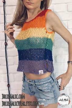 Summer Knitting, Hand Knitting, Bonnet Crochet, Hippie Style Clothing, Pride Outfit, Crochet Shirt, Crochet Tops, Pride Shirts, Lgbt Flag