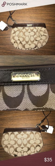 "NWT Coach Pleated Medium Wristlet NWT! Coach signature pleated medium Wristlet. Classic tan/brown monogram with chocolate brown patent leather top, trim, & wrist strap. Silver logo on top & logo on keychain. Zip close. Warm champagne/brown satin interior has one wall pocket & care instructions card. 5.5"" x 8"". Price tag: $78.00 Coach Bags Clutches & Wristlets"