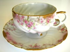 Old THREE Footed TEA CUP SAUCER Rose Garland fine china (04/19/2011)