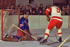 From the HHOF Archives - Jacques Plante of the NY Rangers turns away Gordie Howe of the Detroit Red Wings - from Hockey Hall of Fame ( Rangers Hockey, Women's Hockey, Hockey Games, Hockey Players, Hockey Hall Of Fame, Red Wings Hockey, Goalie Mask, Sport Icon, Vancouver Canucks
