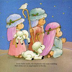 pastores en el establo venerando al niño