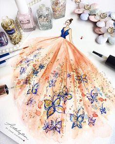 Croqui de moda, ilustração, vestido de festa. Pin: @giovana