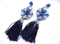 Blue tassel earrings blue fringe earrings blue earrings by MMGEM