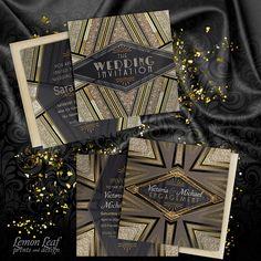 Art Deco wedding and engagement invitations. http://lemonleafprints.com/art-deco-goldy-engagement-party-invitation.html