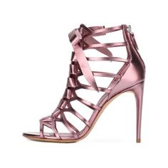 Beautiful, Charming Women's Pink Mirror Leather Bow Hollow out Stiletto Heel Gladiator Sandals you best choice for Date, Anniversary -TOP Design by FSJ
