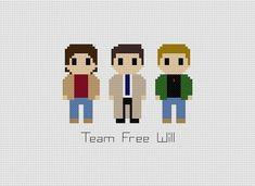 Supernatural Team Free Will Cross Stitch Pattern Geek Cross Stitch, Beaded Cross Stitch, Cross Stitch Designs, Cross Stitch Embroidery, Cross Stitch Patterns, Funny Needlepoint, Dmc Embroidery Floss, String Crafts, Crochet Quilt