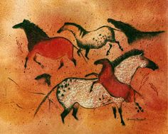 Big Horse, cave art painting - by Sherry Bryant, Tucson, AZ. Conte crayon.
