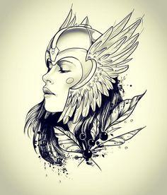 Dizem as lendas nórdicas que as valquírias são guerreiras aladas que apareciam nos campos de batalha para resgatar os guerreiros vikings… Ozzy Tattoo, Scar Tattoo, Tattoo Now, Tattoo Design Drawings, Pencil Art Drawings, Tattoo Designs, Valkyrie Norse Mythology, Superman Tattoos, Helmet Tattoo