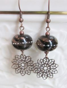 Black Velvet Earrings- Artisan Lampwork Glass Accented with Antiqued Copper Filigree and Wires, Unique, One of a Kind, SRAJD, OOAK