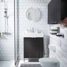 Baño lavamanos ikea blanco oscuro madera