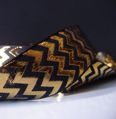 Metallic Gold and Black Chevron Ribbon