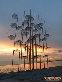 Umbrella Art Installation in Greece