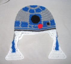 R2D2 Crochet Hat with Ear Flaps by lissa40511 on Etsy, $30.00