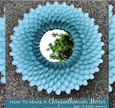 How to make chrysanthemum mirror out of plastic spoons step by step DIY tutorial picture instructions